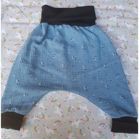 Sarouel en gaze - Bleu motif triangle -taille 24 mois evolutif