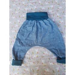 Sarouel en gaze - Bleu motif triangle -taille 18 mois evolutif